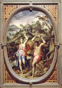 図1 アンドレア・デル・ミンガ《デウカリオーンとピュラー》1570年 板に油彩 パラッツォ・ベッキオ フィレンツェ