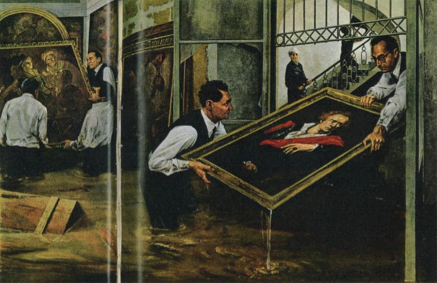 図3 ウンベルト・バルディーニとチェーザレ・ブランディの作品救出作業スケッチ National Geographic, Vol.132, No. 1, 1967 July, pp. 30-31