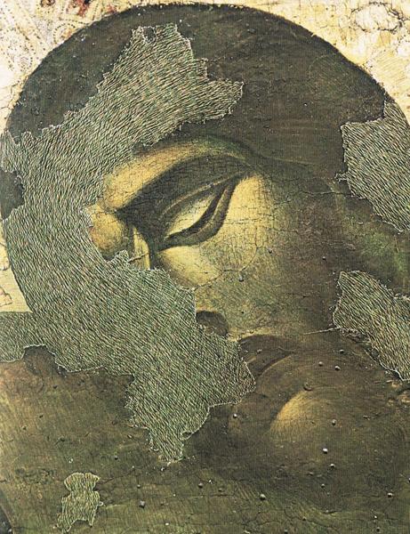 図2 チマブーエ《十字架降下》に施された補彩  (Baldini, Umberto. Teoria del restauro e unità della metodologia, Firenze: Nardini, 1978.)